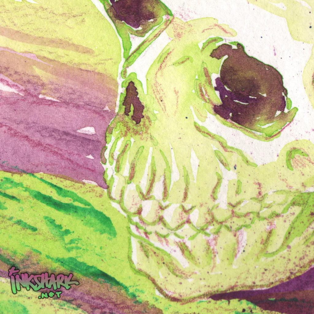 Skull Study - Green & Violet