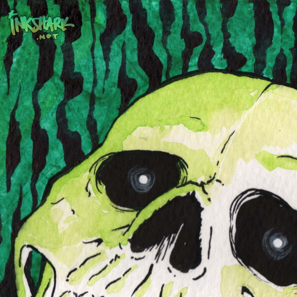 Skull Study - Green & Black