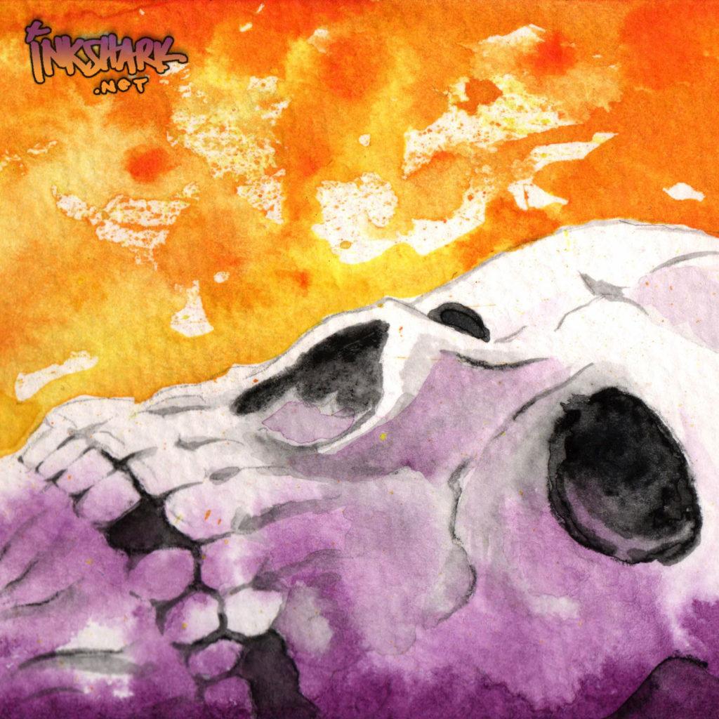 Skull Study - Orange & Violet
