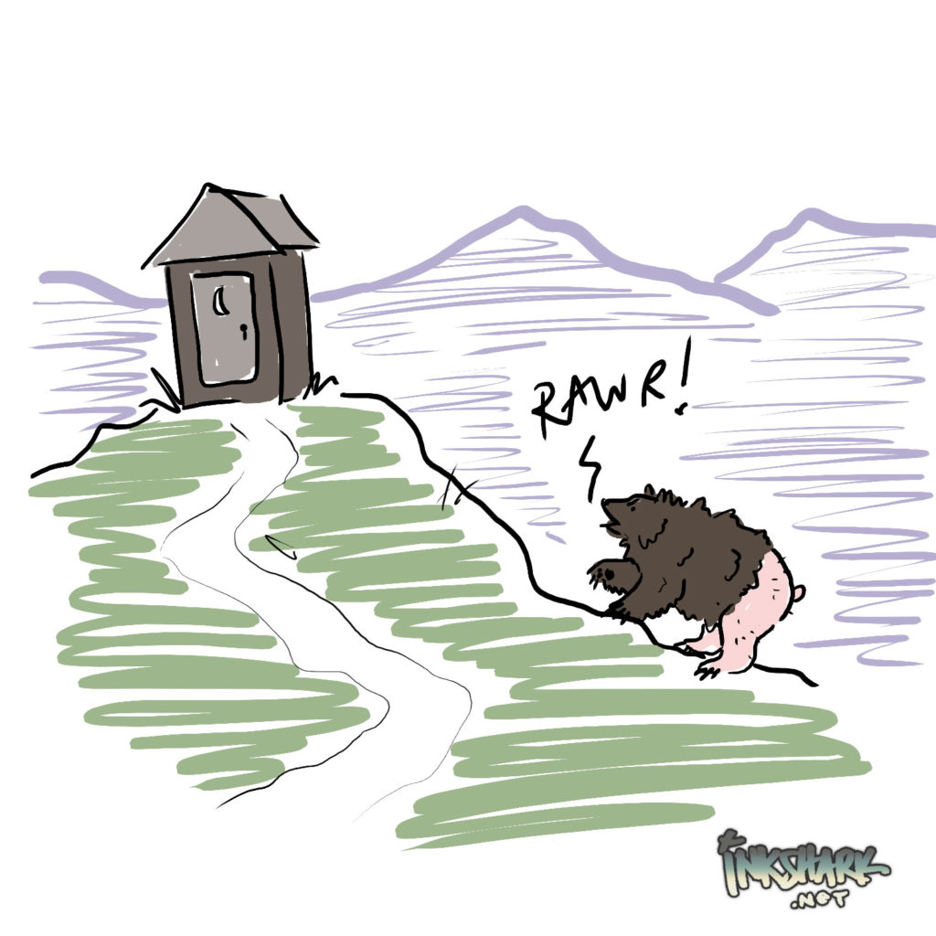 "illustration of outhouse + a bear with a bald butt going ""rawr!"""
