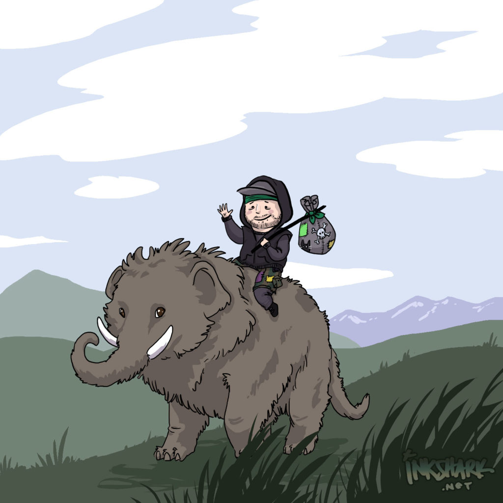 cartoon of me carrying a bindle and riding a mastodon